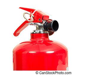 extintor, cabeça, fogo, isole, fundo, branca