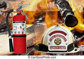 extintor, chapéu, fundo, bombeiro