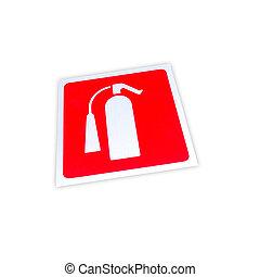 extintor, isolado, sinal