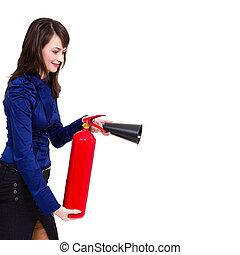 extintor, jovem, usando, executiva