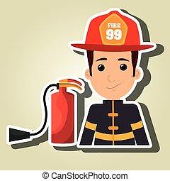 extintor, protetor, bombeiro