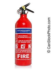 extintor, recorte, fuego, aislado, trayectoria, blanco
