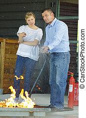extintor, treinamento, fogo, trabalhadores, broca, usando