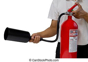 extintor, uso, fuego, actuación, aislado, cómo, plano de fondo, blanco, encima, hombre