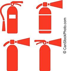 extintor, vetorial, ícone