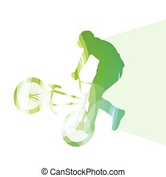 extrém, kerékpárosok, elvont, bicikli rider, árnykép, vektor, háttér, színes, fogalom