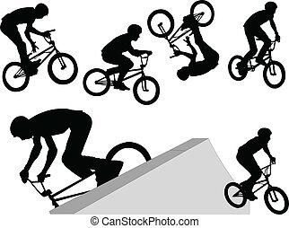 extrém, -, vektor, biciklista