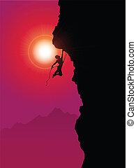 extrême, grimpeur, rocher