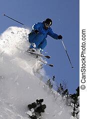 extrême, skier.