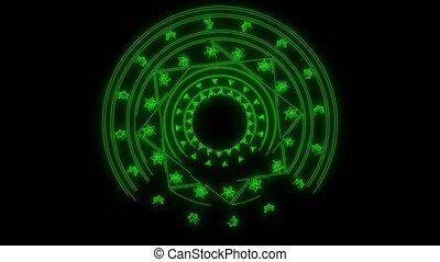 extrême, technologie, mètre, étoile, résumé, fleurs, annonce, vert, conception