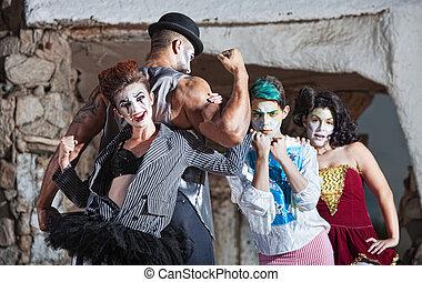 extraño, cirque, rendimiento