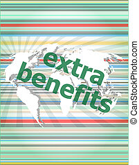 extra benefits slogan poster concept. Financial support message design. concept of citation, info, testimonials, notice, textbox