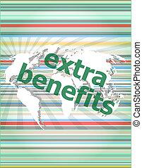 extra benefits slogan poster concept. Financial support message design. concept of citation, info, testimonials, notice, textbox