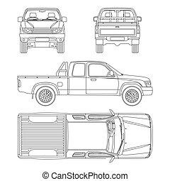 extra, bil, illustration, pickupen, vektor, lastbil förarhytt