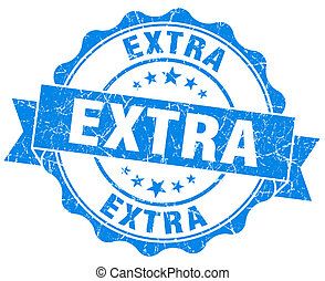 Extra blue vintage seal isolated on white