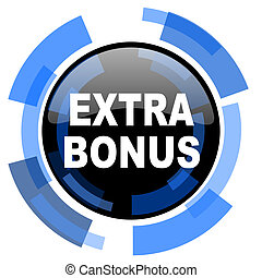 extra bonus black blue glossy web icon