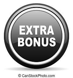 extra bonus black circle glossy web icon