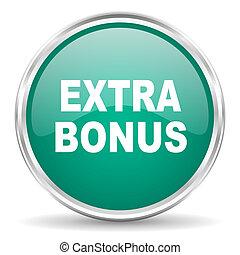 extra bonus blue glossy circle web icon