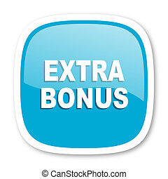 extra bonus blue glossy web icon