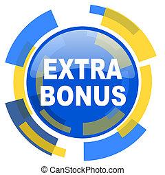 extra bonus blue yellow glossy web icon
