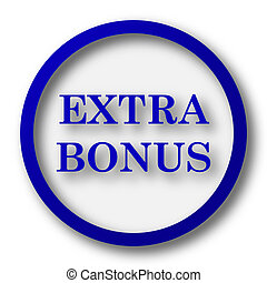 Extra bonus icon. Blue internet button on white background....