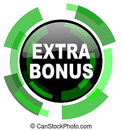 extra bonus icon, green modern design isolated button, web and mobile app design illustration