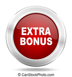 extra bonus icon, red round glossy metallic button, web and mobile app design illustration