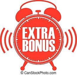 Extra bonus red alarm clock, vector illustration