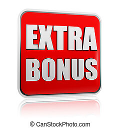 extra bonus red banner - extra bonus - 3d red banner with ...