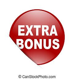 extra bonus red circle glossy web icon