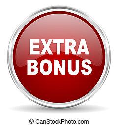 extra bonus red glossy circle web icon