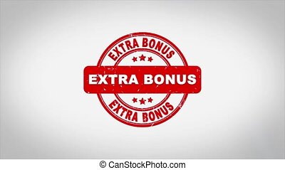 Extra Bonus Signed Stamping Text Wooden Stamp Animation. Red Ink on Clean White Paper Surface Background with Green matte Background Included.