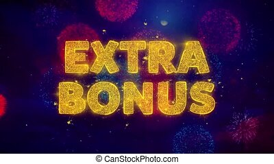Extra Bonus Text on Colorful Firework Explosion Particles. Sale, Discount Price, Off Deals, Offer promotion offer percent discount ads 4K Loop Animation.