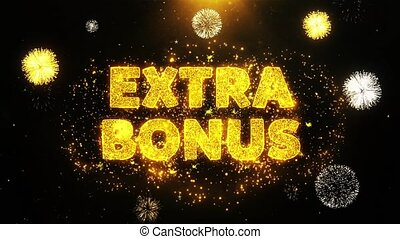 Extra Bonus Text on Firework Display Explosion Particles. Sale, Discount Price, Off Deals, Offer promotion offer percent discount ads 4K Loop Animation.
