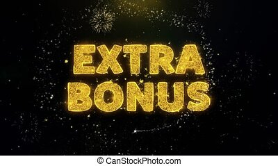 Extra Bonus Text on Gold Glitter Particles Spark Exploding Fireworks Display. Sale, Discount Price, Off Deals, Offer Promotion Offer Percent Discount ads 4K Loop Animation.
