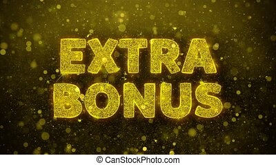 Extra Bonus Text Golden Glitter Glowing Lights Shine Particles. Sale, Discount Price, Off Deals, Offer promotion offer percent discount ads 4K Loop Animation.