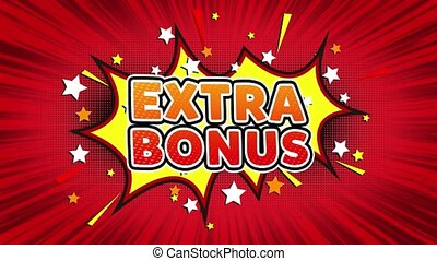 Extra Bonus Text Pop Art Style Expression. Retro Comic Bubble Expression Cartoon illustration, Sale, Discounts, Percentages, Deal, Offer on Green Screen