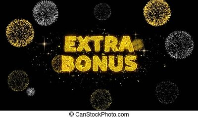Extra Bonus Text Reveal on Glitter Golden Particles Firework. Sale, Discount Price, Off Deals, Offer promotion offer percent discount ads 4K Loop Animation.