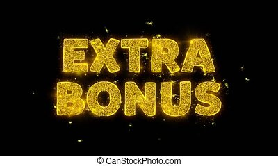 Extra Bonus Text Sparks Glitter Particles on Black Background. Sale, Discount Price, Off Deals, Offer promotion offer percent discount ads 4K Loop Animation.