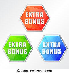 extra bonus, three colors hexagons labels, flat design, ...