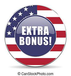 Extra bonus usa design web american round internet icon with shadow on white background.