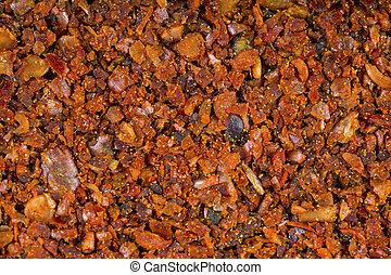 Extra chilly spicy dry seasoning. Macro shot