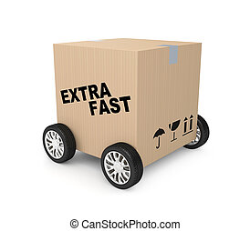Extra fast shipping - Shipping metaphor. Isolated on white