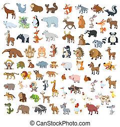 extra, grande, animales, y, aves, conjunto