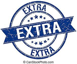 extra grunge retro blue isolated ribbon stamp