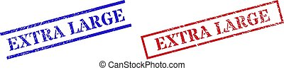 Grunge EXTRA LARGE rubber stamps in red and blue colors. Seals have draft style. Vector rubber imitations with EXTRA LARGE text inside rectangle frame, or parallel lines.