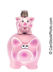 Extra money - Piggy Bank on a white background