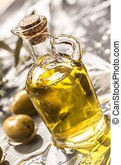 Extra olive oil in glass ja