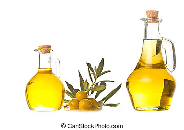 Extra olive oil two bottles isolated
