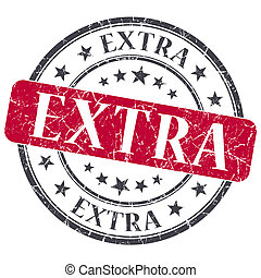 Extra red grunge round stamp on white background
